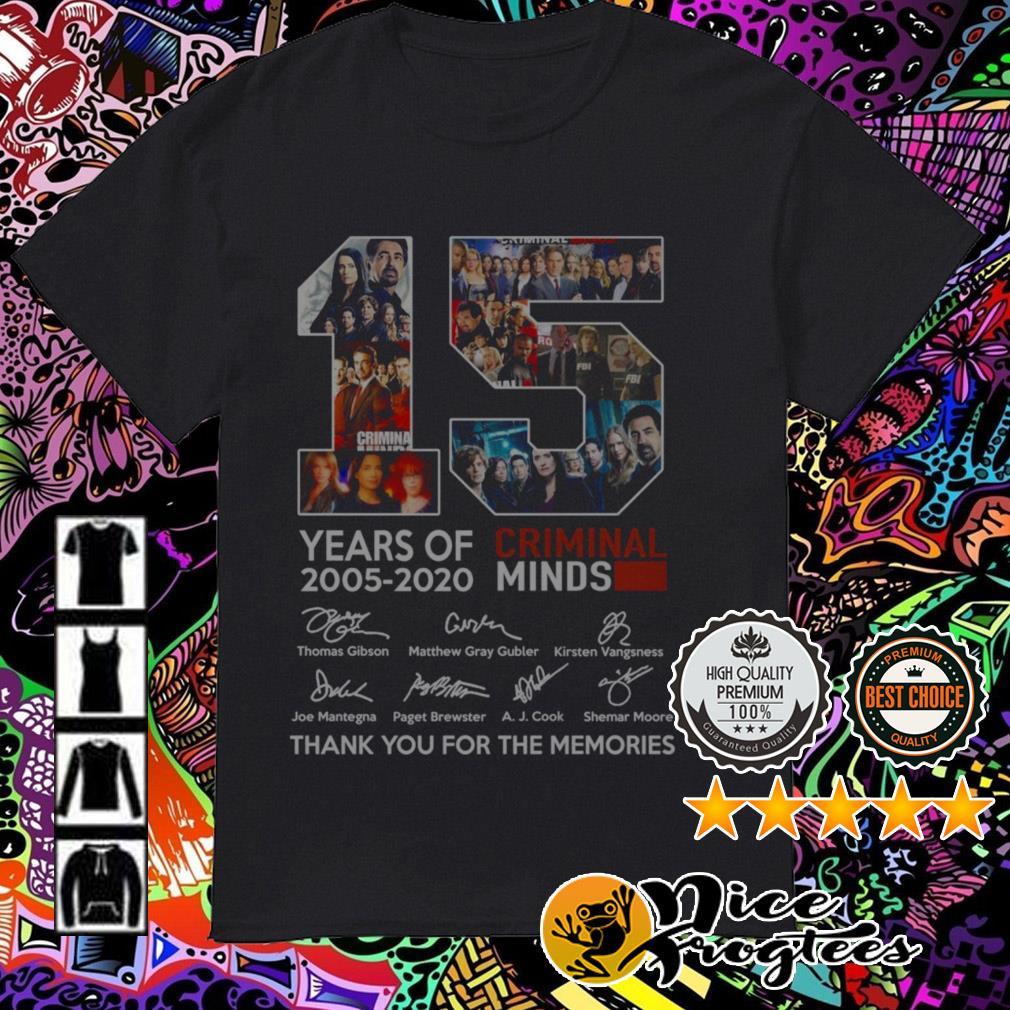 15 Years of Criminal Minds 2005-2020 signatures thank you for the memories shirt
