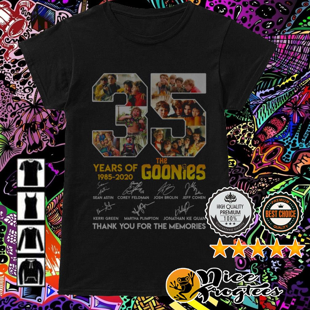 35 Years of The Goonies 1985-2020 signatures thank you for the memories Ladies Tee