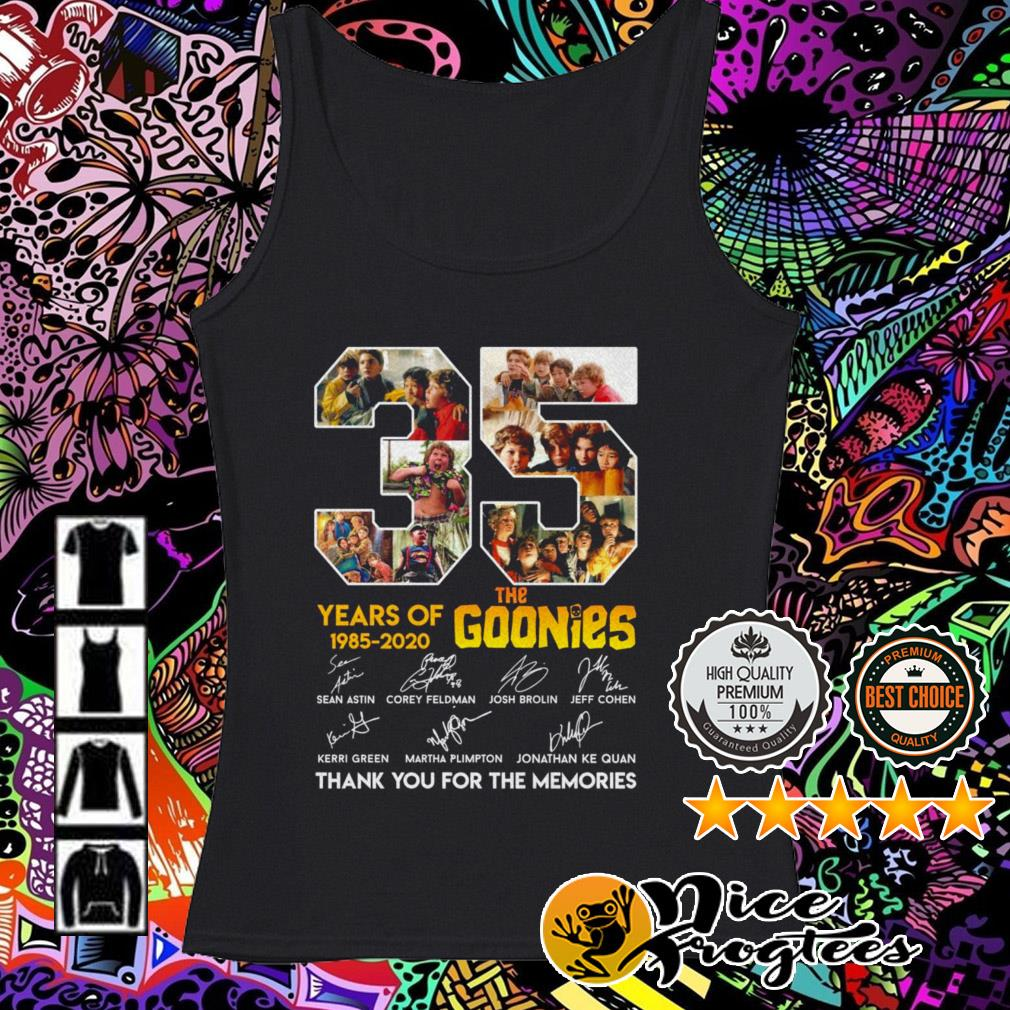 35 Years of The Goonies 1985-2020 signatures thank you for the memories Tank top