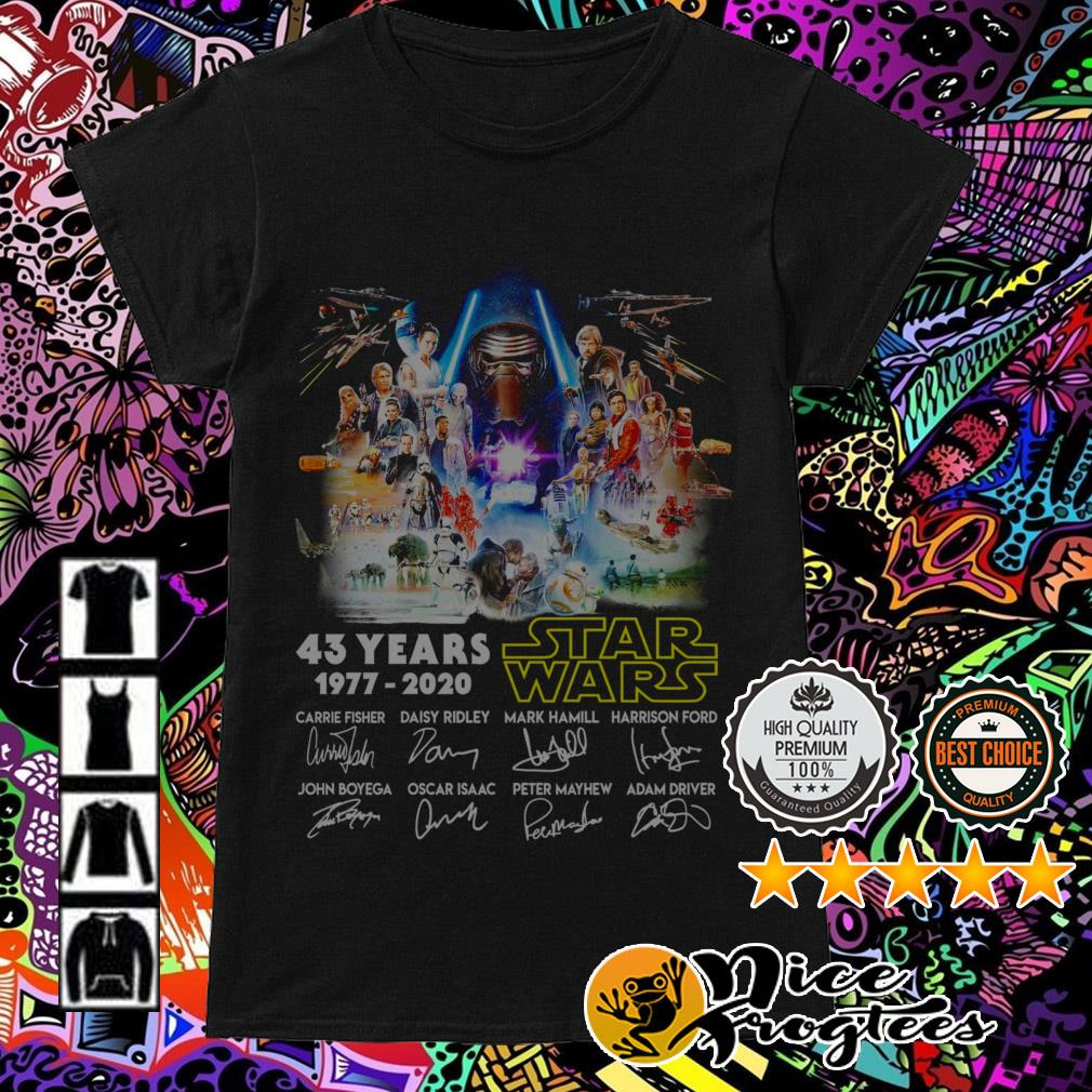 43 Years of Star Wars 1977-2020 all characters signatures Ladies Tee