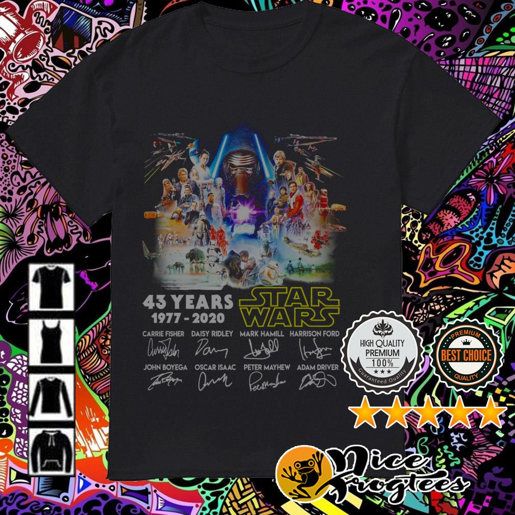 43 Years of Star Wars 1977-2020 all characters signatures shirt