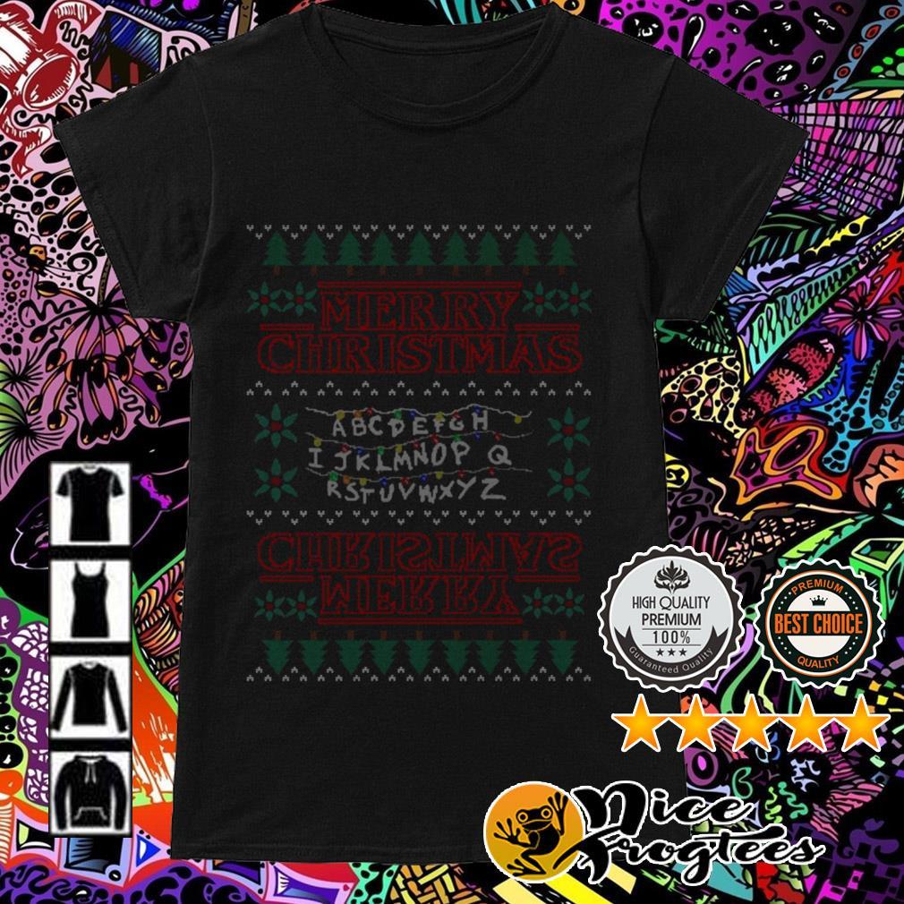 Alphabet Light Merry Christmas Ladies Tee
