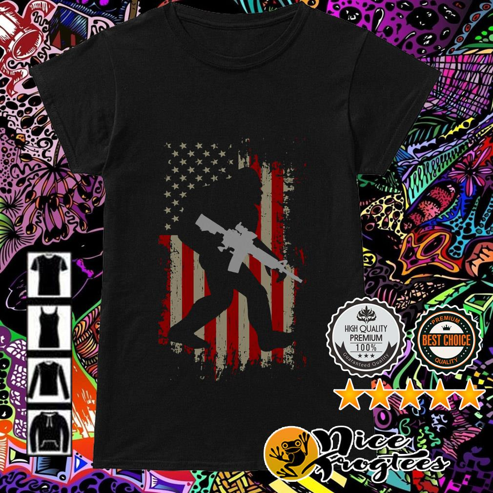 American flag Bigfoot hold gun 4th of July independence day Ladies Tee