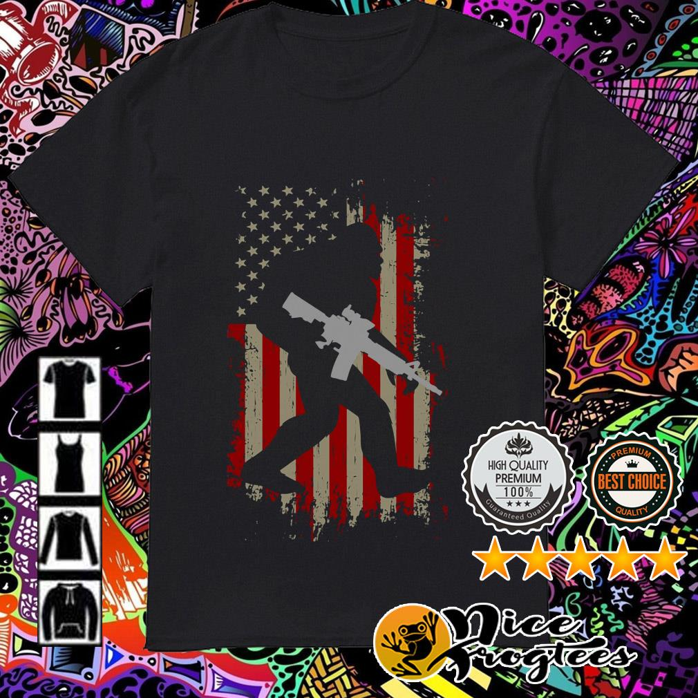 American flag Bigfoot hold gun 4th of July independence day shirt