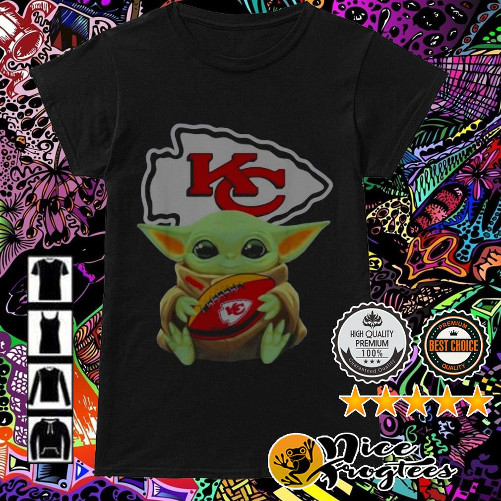 Baby Yoda hug Kansas City Chiefs Ladies Tee
