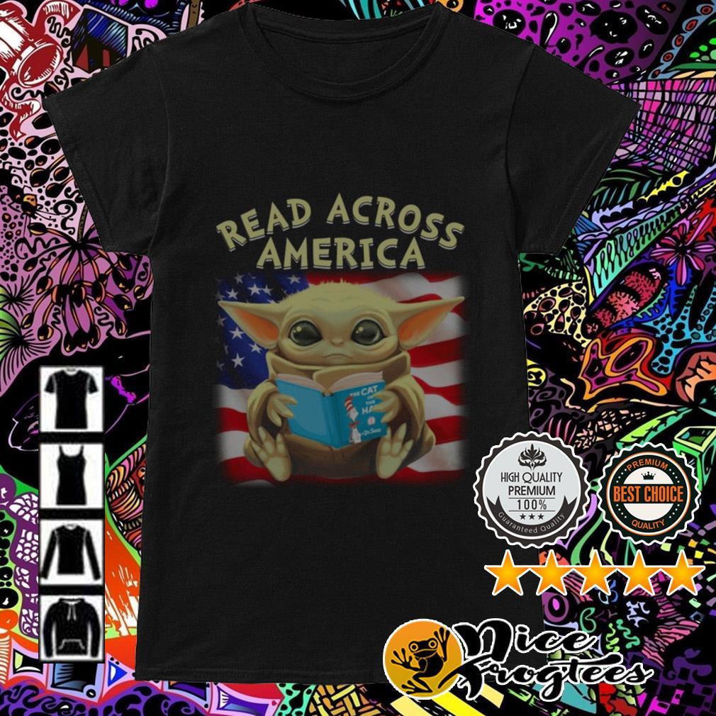 Baby Yoda Read across America flag Ladies Tee