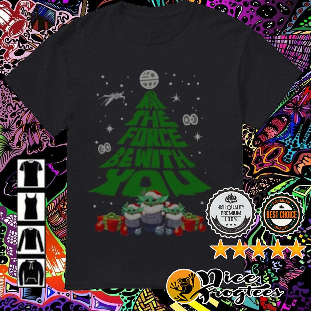 Baby Yoda Santa may the force be with you Christmas tree sweatshirt