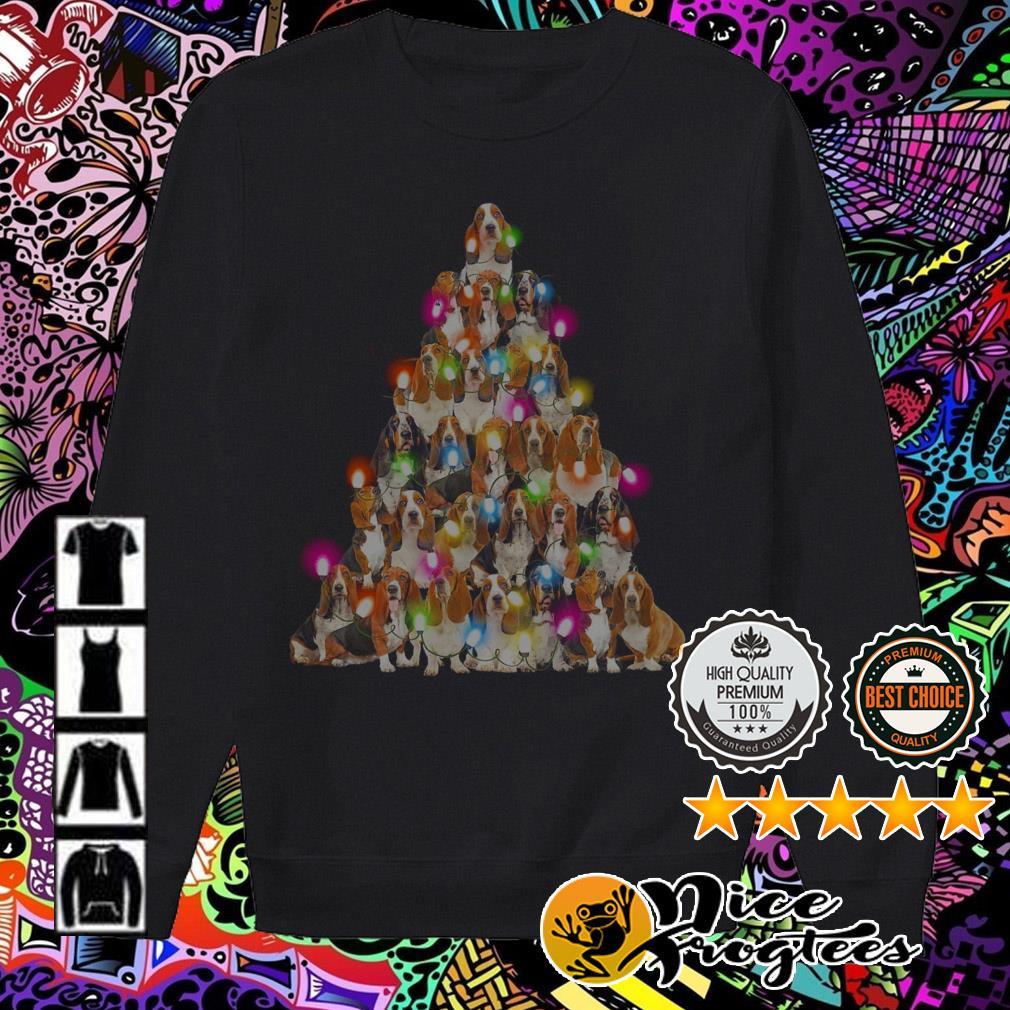 Basset hound Christmas tree sweatshirt