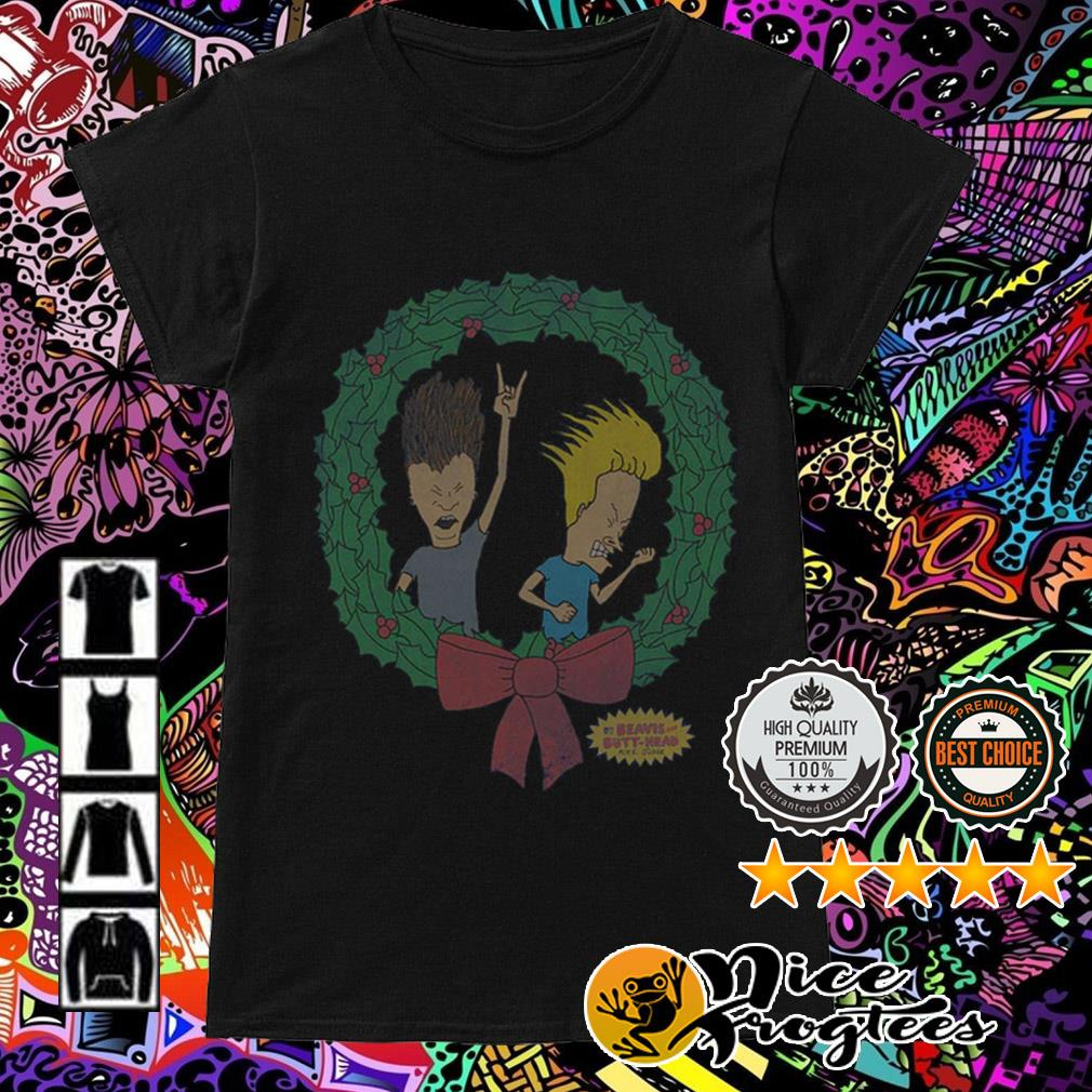 Beavis and Butthead air guitar Christmas wreath sweater