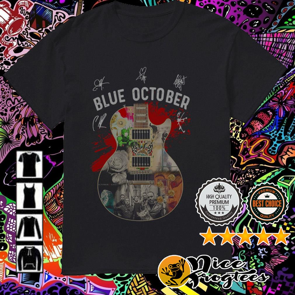 Blue October Guitar members signatures shirt