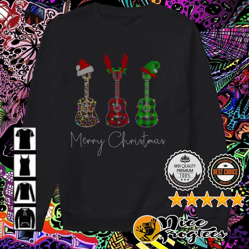 Guitar Santa reindeer Leopard Plaid Printed Merry Christmas Sweater