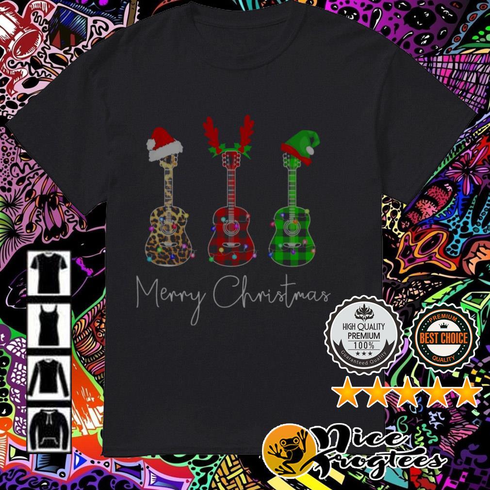 Guitar Santa reindeer Leopard Plaid Printed Merry Christmas sweatshirt