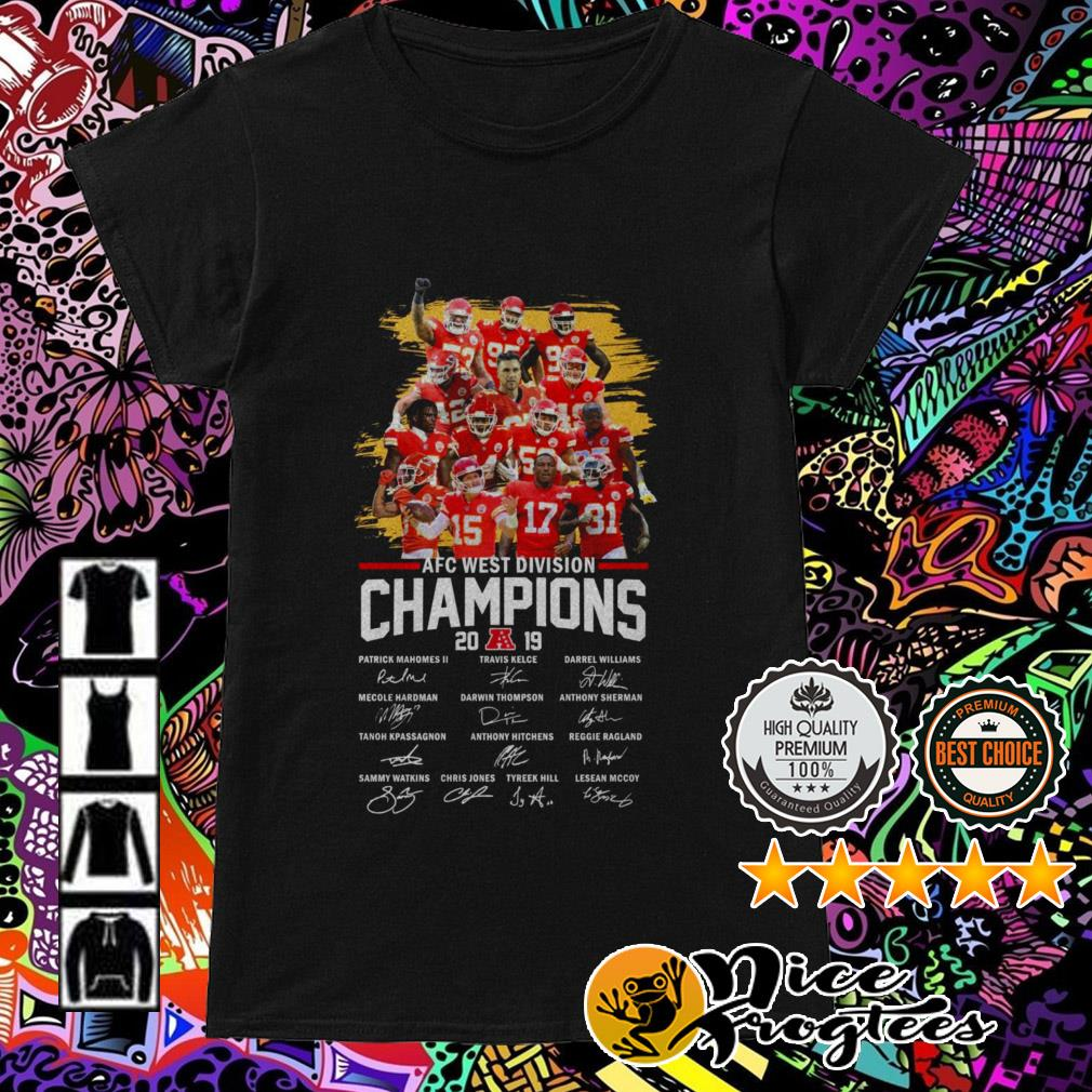Kansas City Chiefs AFC West Division Champions 2019 team players signatures Ladies Tee