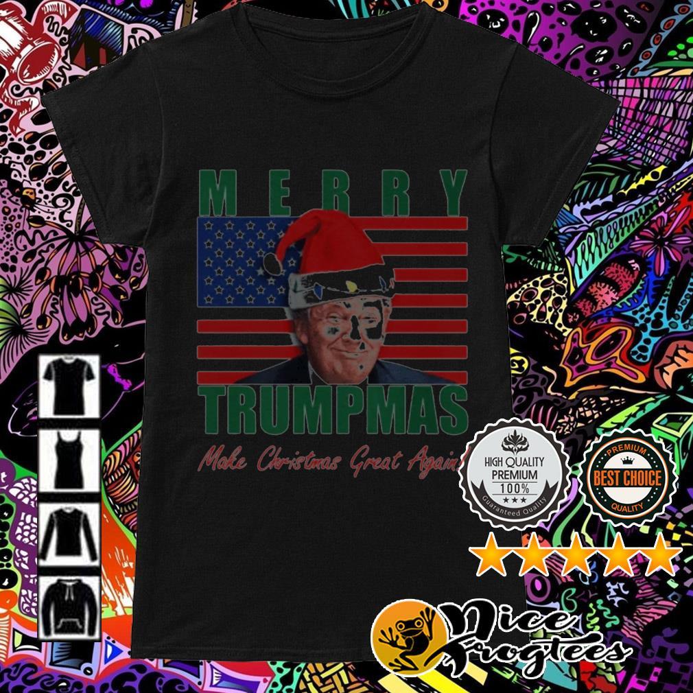 Merry Trumpmas make Christmas great again American flag Ladies Tee