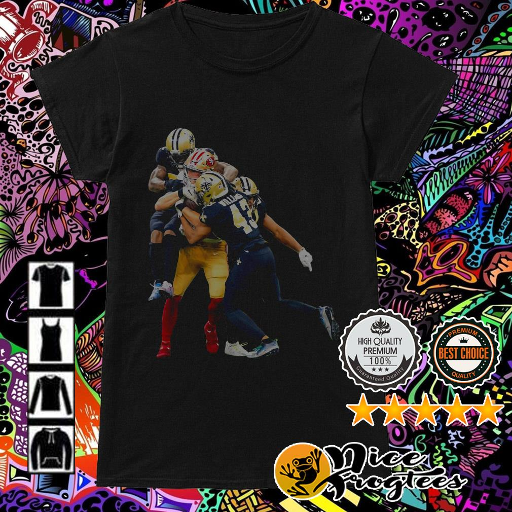 New Orleans Saints players fighting San Francisco 49ers players Ladies Tee