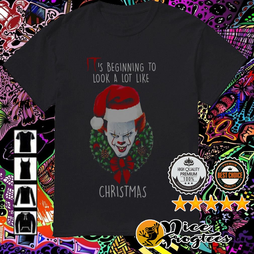 Pennywise Santa Christmas wreath it's beginning to look a lot like sweatshirt