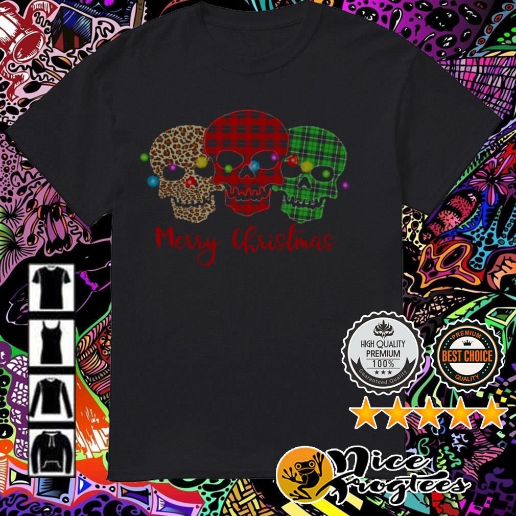 Skull face leopard red Merry Christmas sweatshirt