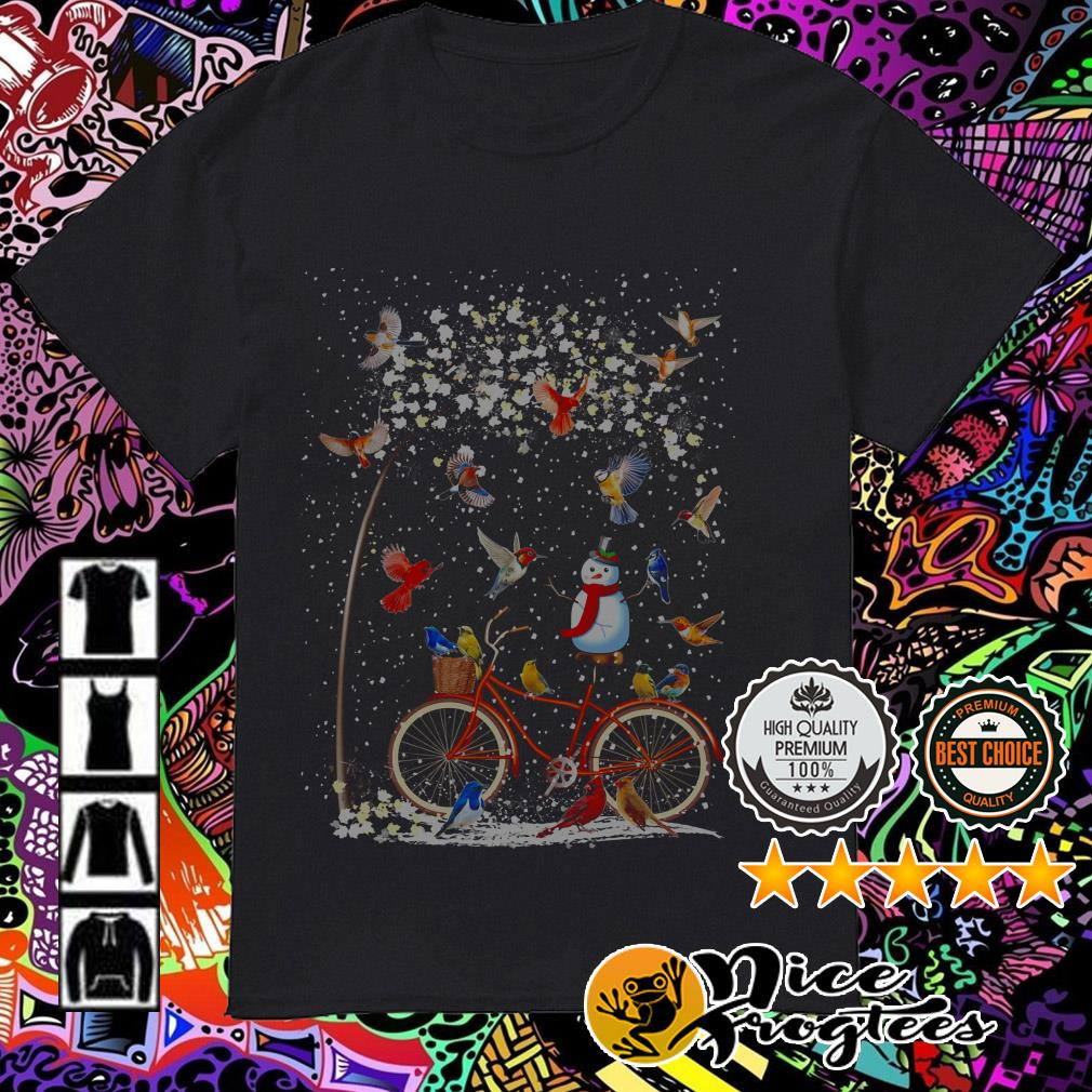 Snowman and Parrots on the bike in the winter Christmas sweatshirt