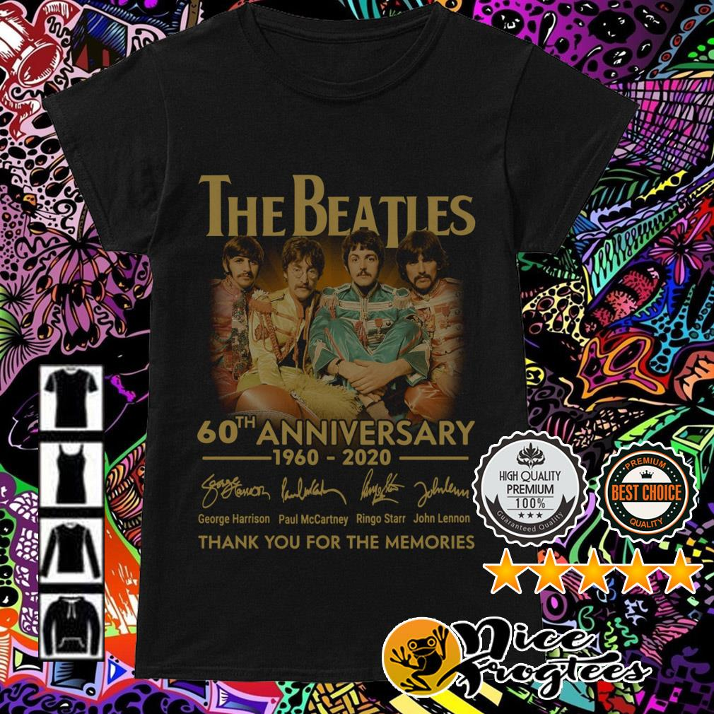 The Beatles 60th Anniversary 1960-2020 signatures thank you for the memories Ladies Tee