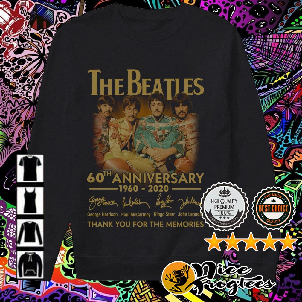 The Beatles 60th Anniversary 1960-2020 signatures thank you for the memories Sweater