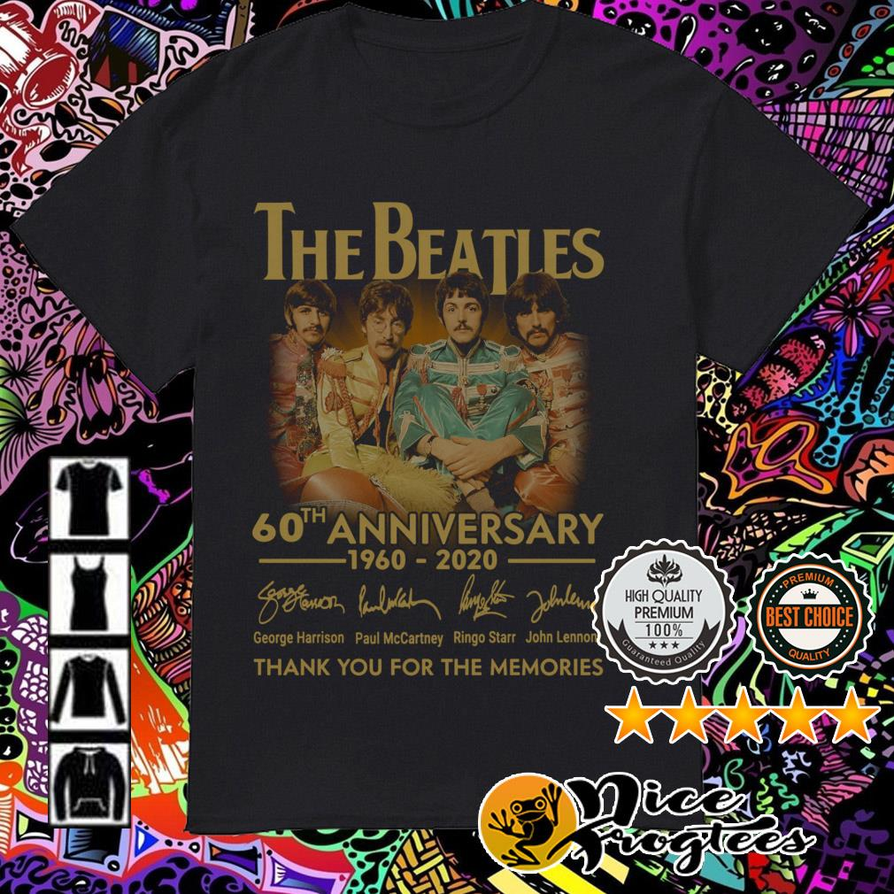The Beatles 60th Anniversary 1960-2020 signatures thank you for the memories shirt