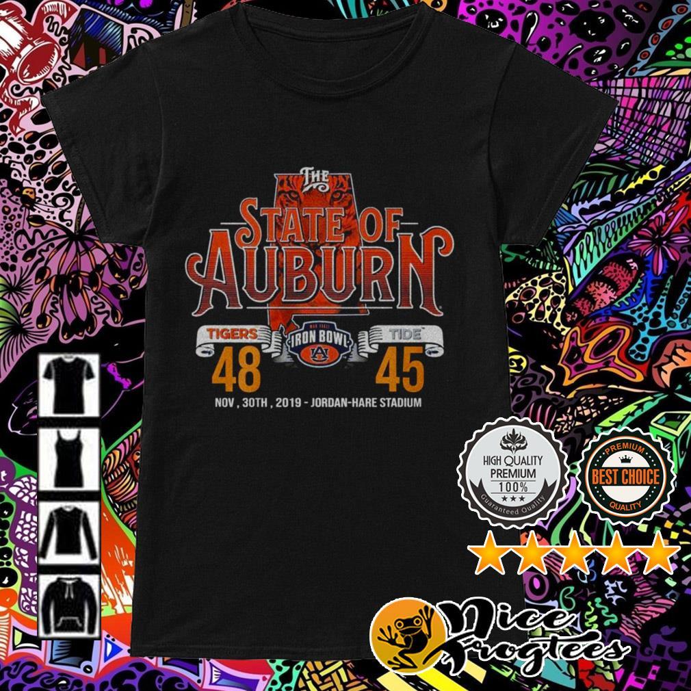 The State of Auburn Tiger Iron Bowl Jordan Hare Stadium Ladies Tee