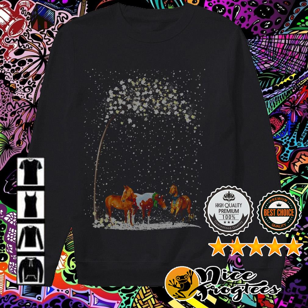 Three horse snow in the winter Christmas sweatshirt