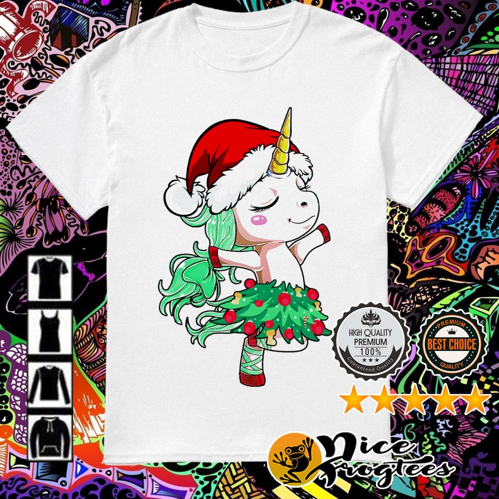 Unicorn Santa hat dancing Christmas sweatshirt