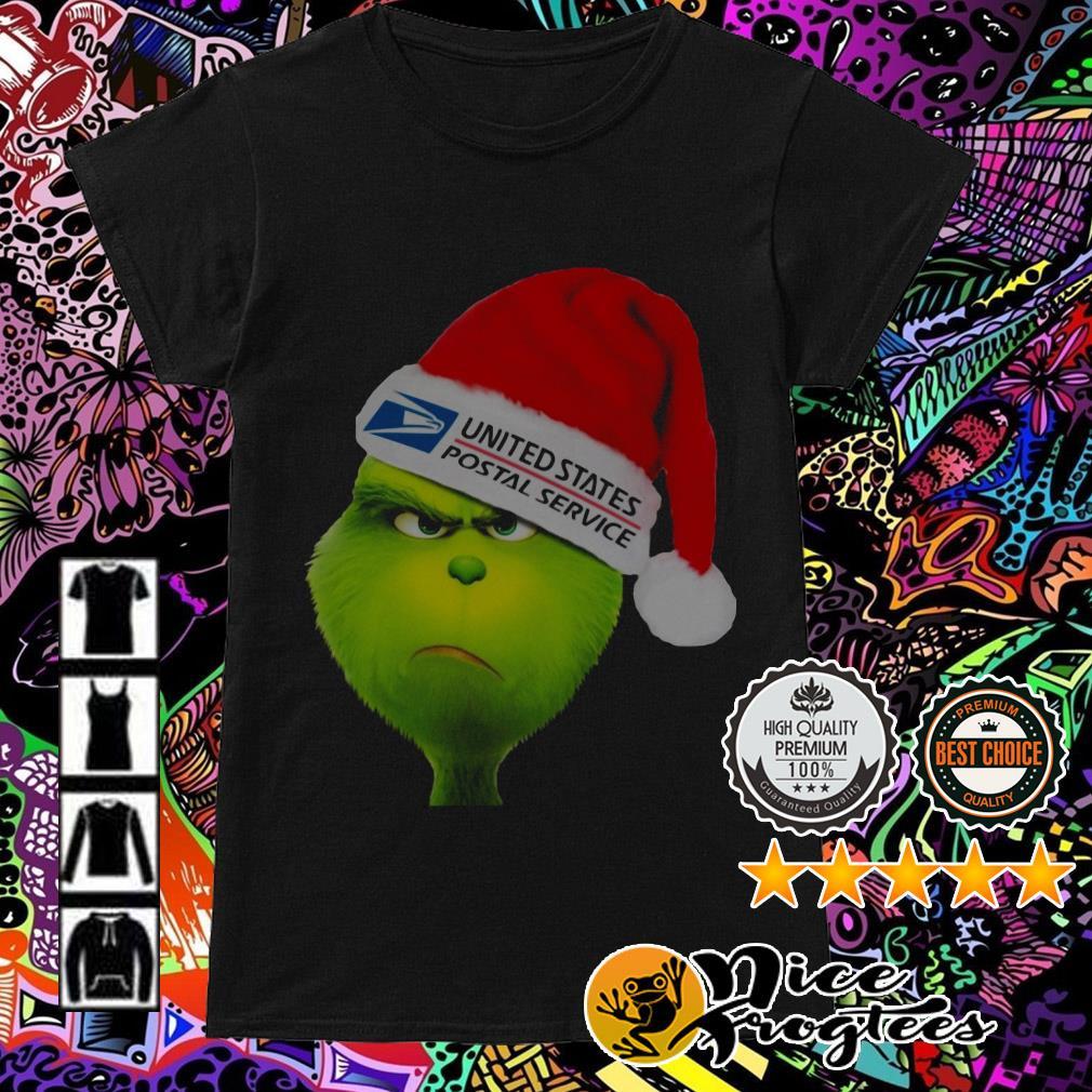 United States Postal Service Grinch Santa hat Christmas Ladies Tee