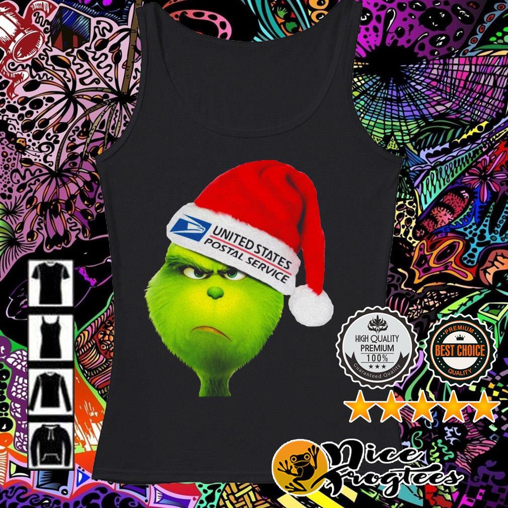 United States Postal Service Grinch Santa hat Christmas Tank top