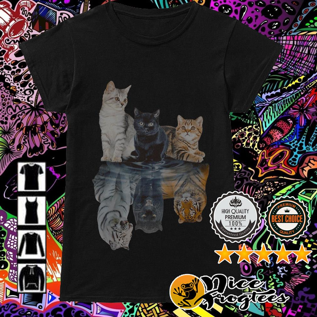 White black yellow cat water mirror reflection tigers Ladies Tee