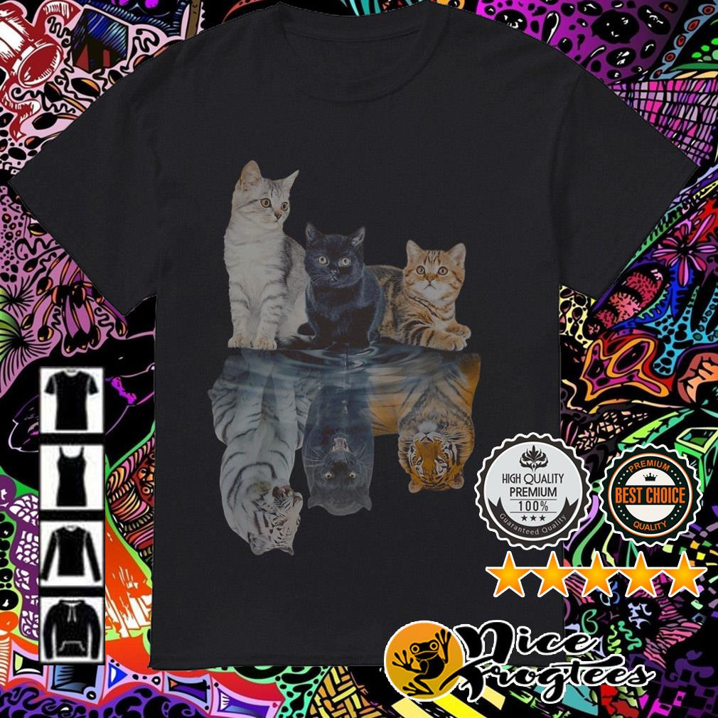 White black yellow cat water mirror reflection tigers shirt