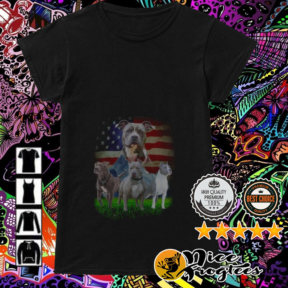 American Pitbull Terrier American flag Ladies Tee