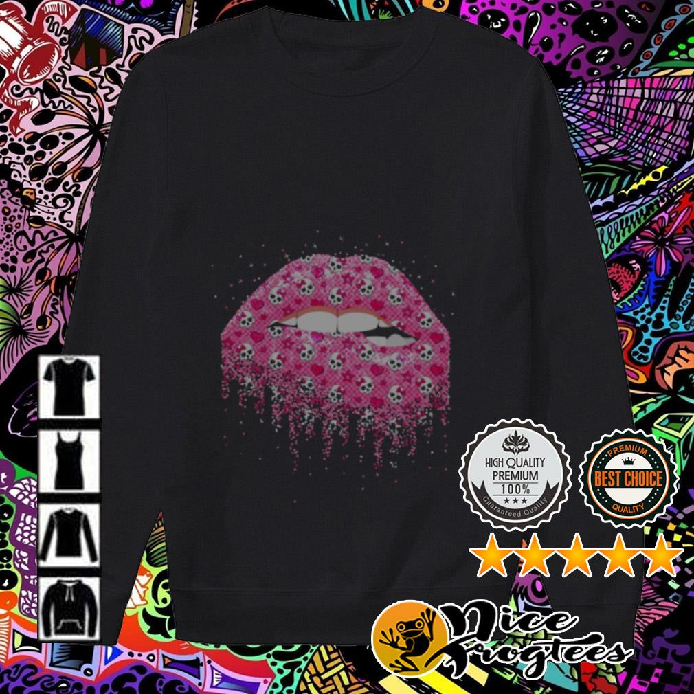 Lips pink skull Valentine's Day Sweater