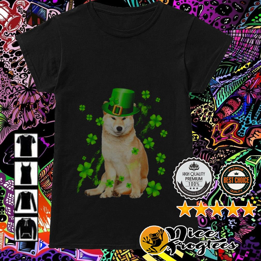 Shiba Inu wearing hat Irish St. Patrick's Day Ladies Tee