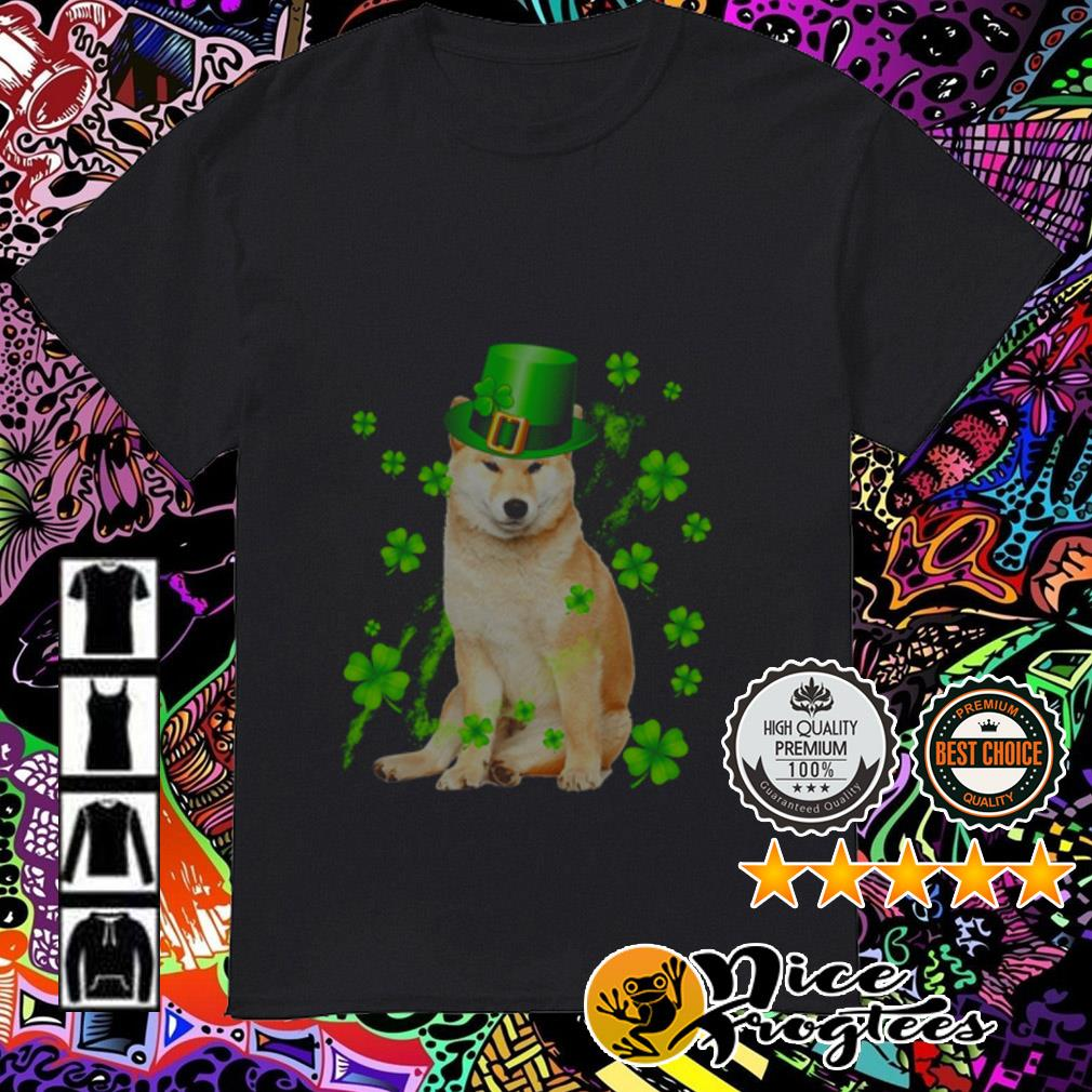 Shiba Inu wearing hat Irish St. Patrick's Day shirt