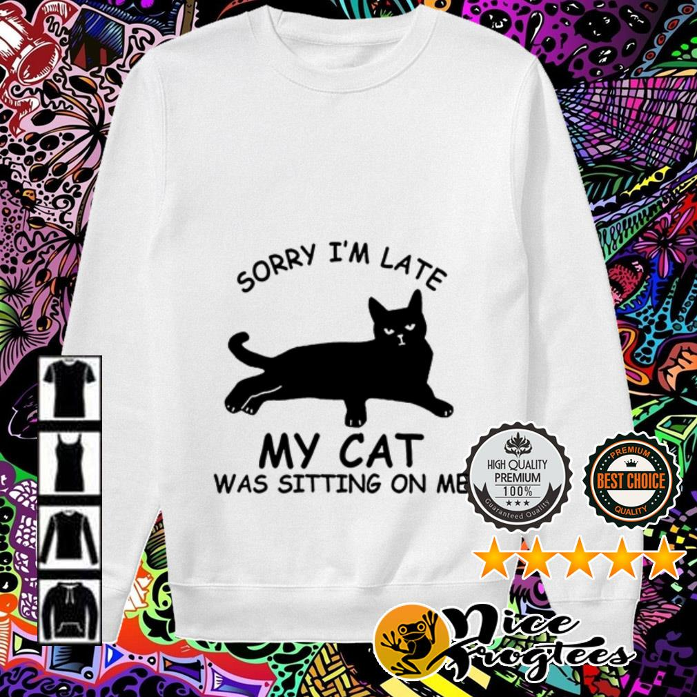 Sorry I am late my cat was sitting on me Sweater