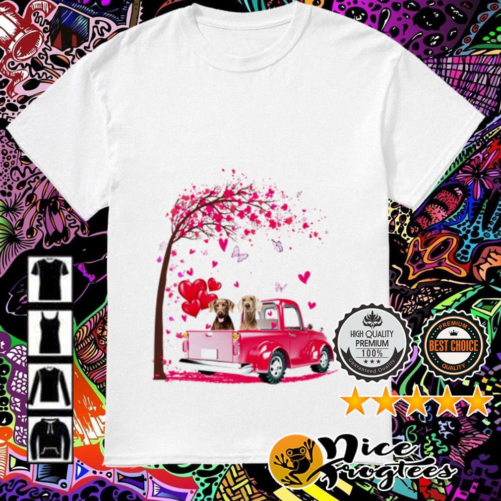Weimaraner pink Truck Valentine's Day shirt