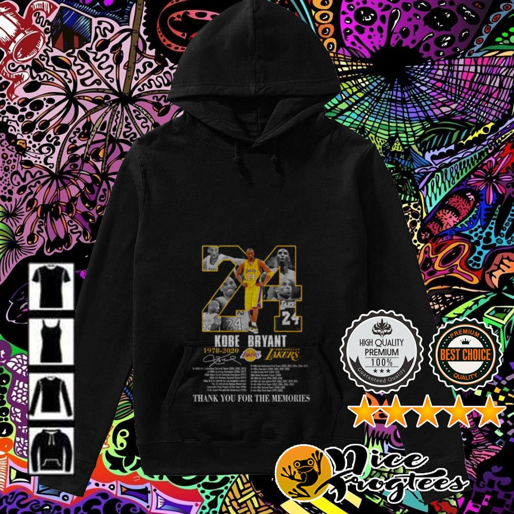 24 Kobe Bryant 1978-2020 Los Angles Lakers thank you for the memories signature Hoodie