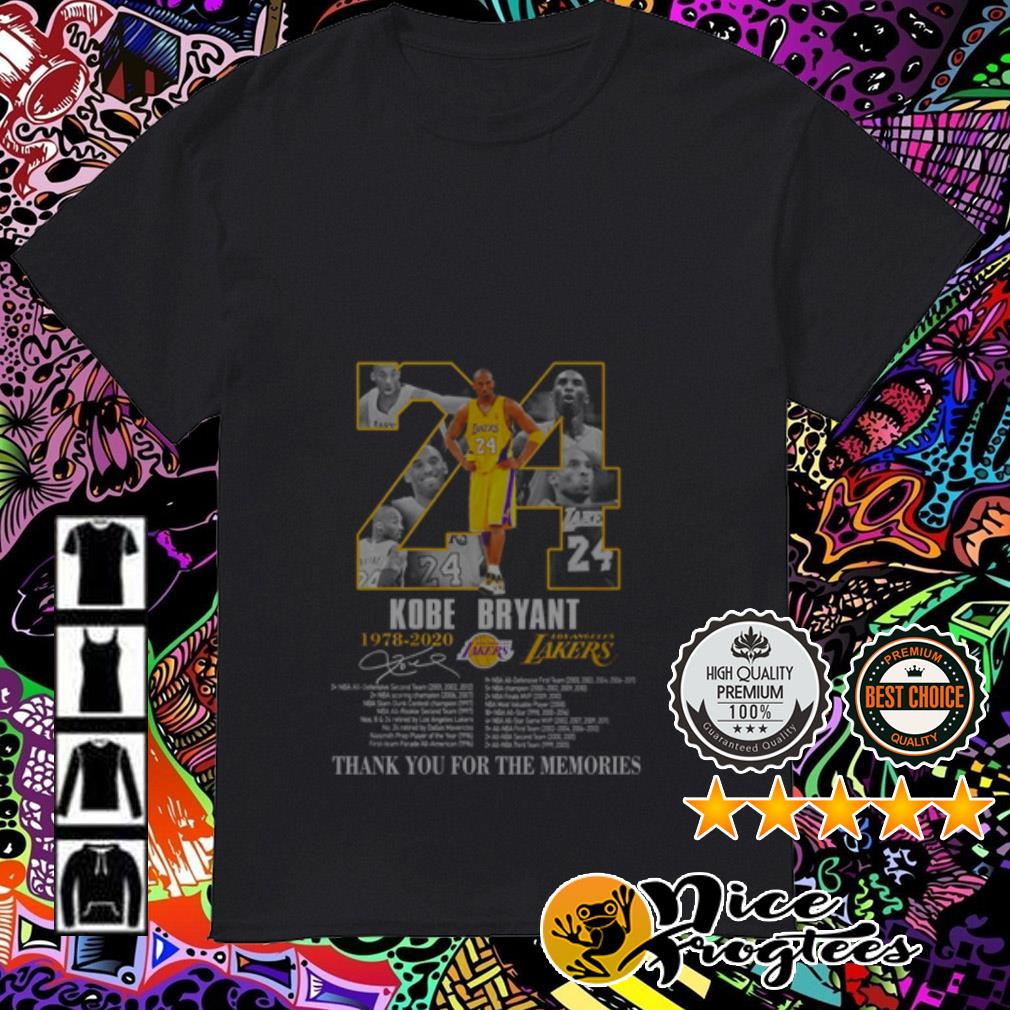 24 Kobe Bryant 1978-2020 Los Angles Lakers thank you for the memories signature shirt