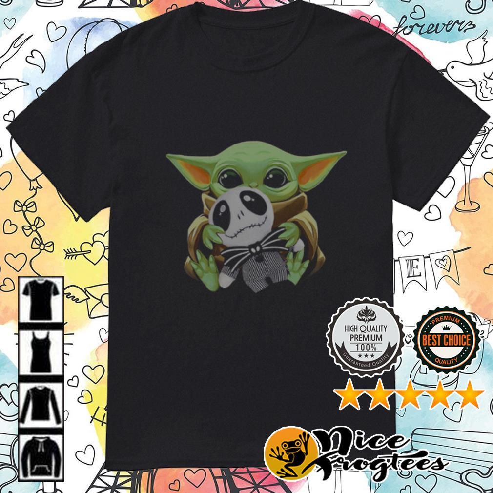 Baby Yoda hug baby Jack Skellington shirt