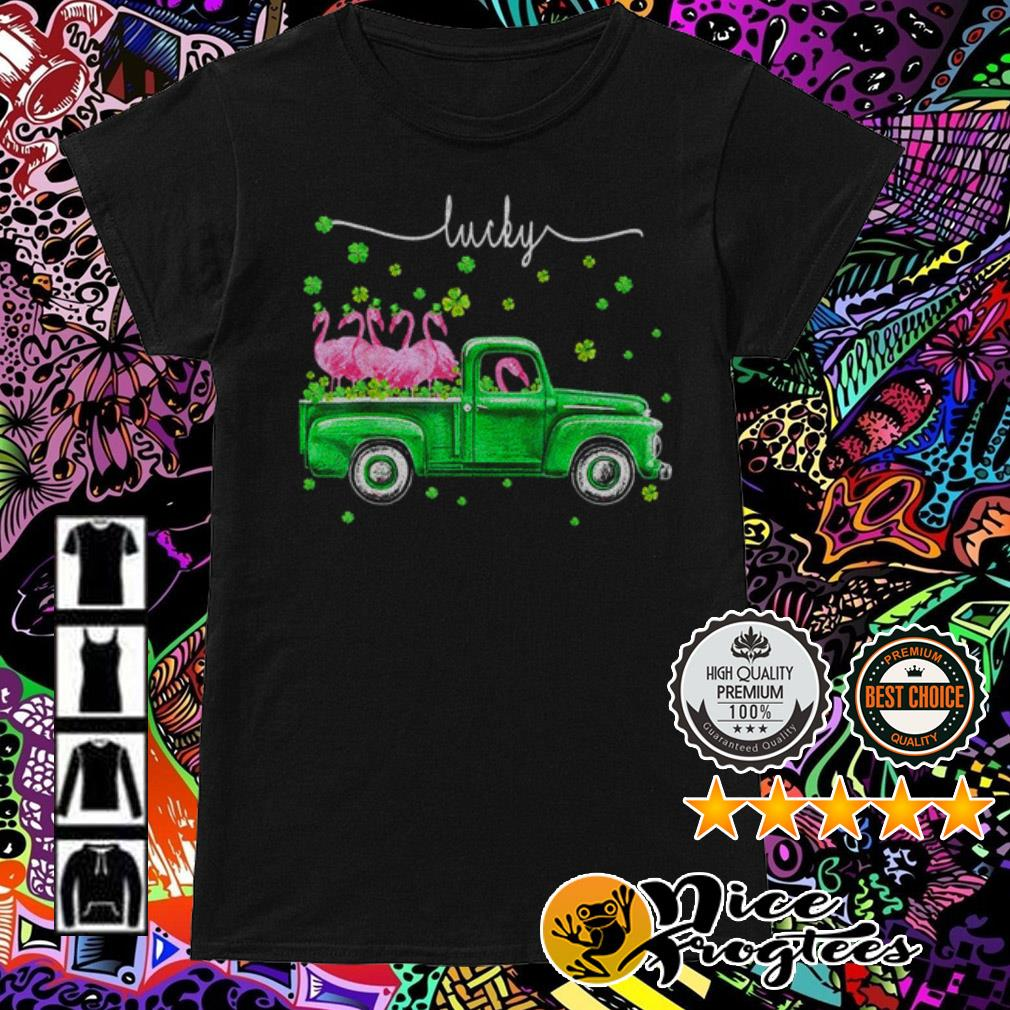 Flamingos driving truck lucky St. Patrick's Day Ladies Tee