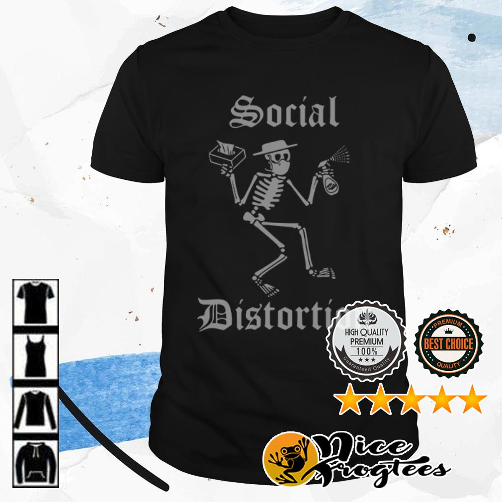Funny skull social distancing and wash your hands shirt