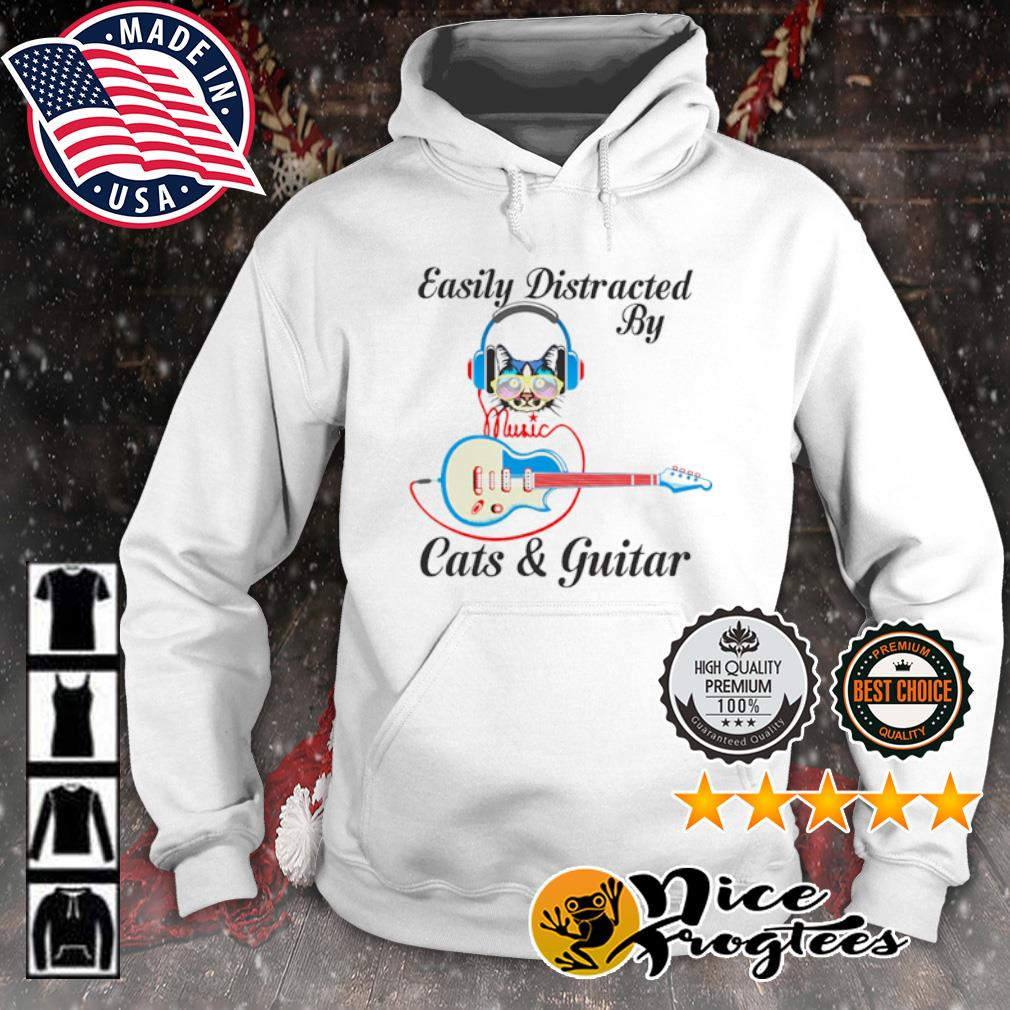 Easily Distracted by music Cats and guitar s hoodie