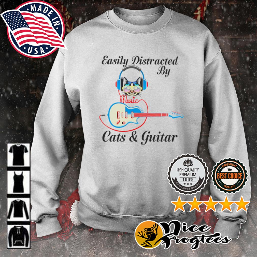 Easily Distracted by music Cats and guitar s sweater