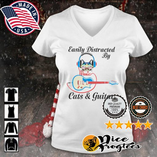 Easily Distracted by music Cats and guitar s v-neck-t-shirt