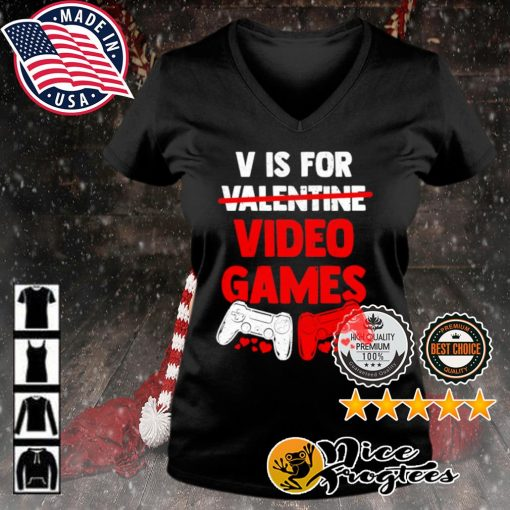 V is for valentine video game s v-neck-t-shirt