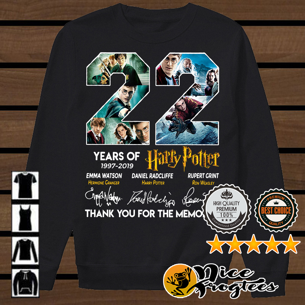22 Years of Harry Potter 1997-2019 thank you for the memories signatures shirt