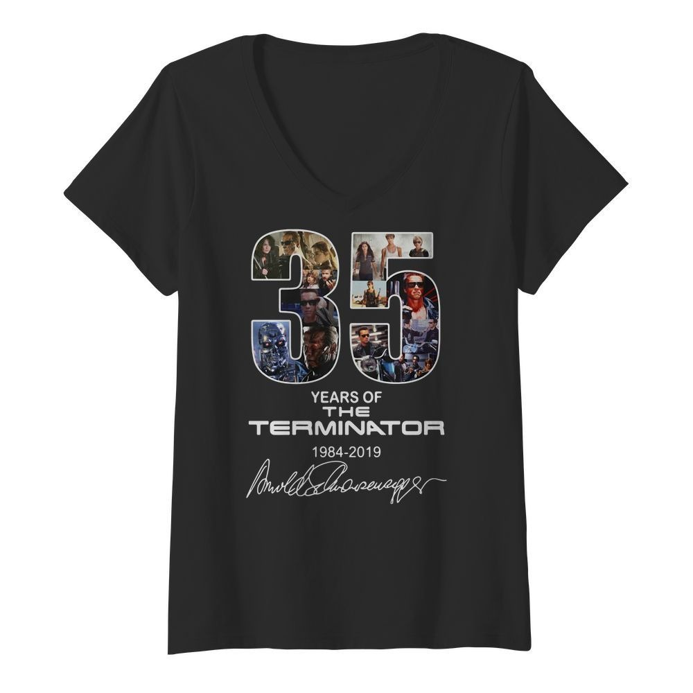 35 Years of the Terminator 1984-2019 signatures V-neck T-shirt