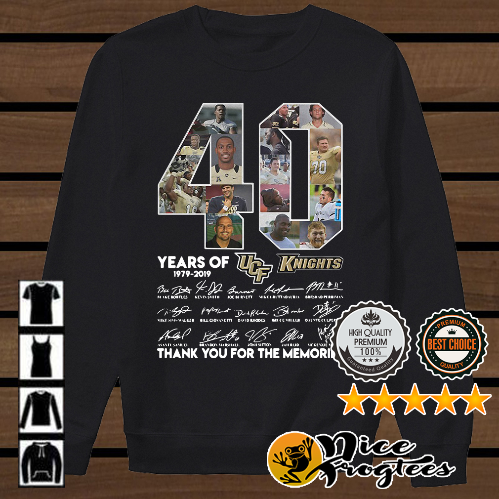 40 years of UCF Knights 1979 2019 signature thank you for the memories shirt